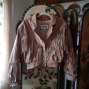 Vtg CHIA Leather Fringe Cropped Southwest Jacket